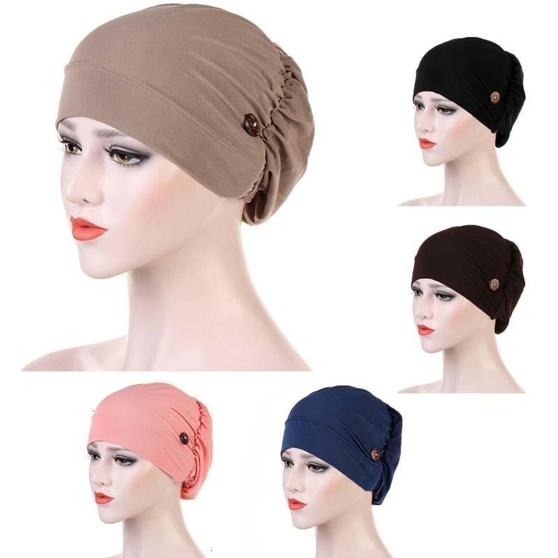 Envoltura simple Cabeza Máscara color sólido Holder Pañuelo de cabeza Mujer musulmanes Caps casual de las señoras de las mujeres turbantes Headwear turbante con botón