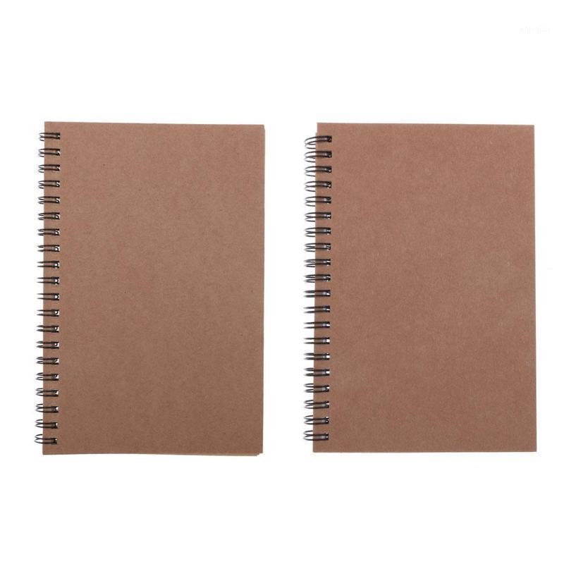 Kraft papel capa espiral caderno pontilhado diário diário diário bloco notepad1