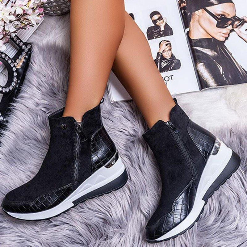 Plus Warm Size Plush Winter Boots Chunky Sneakers Ankle Boots Women Shoes Woman Zipper Buckle Thick Sole Platform Zapatos Mujer