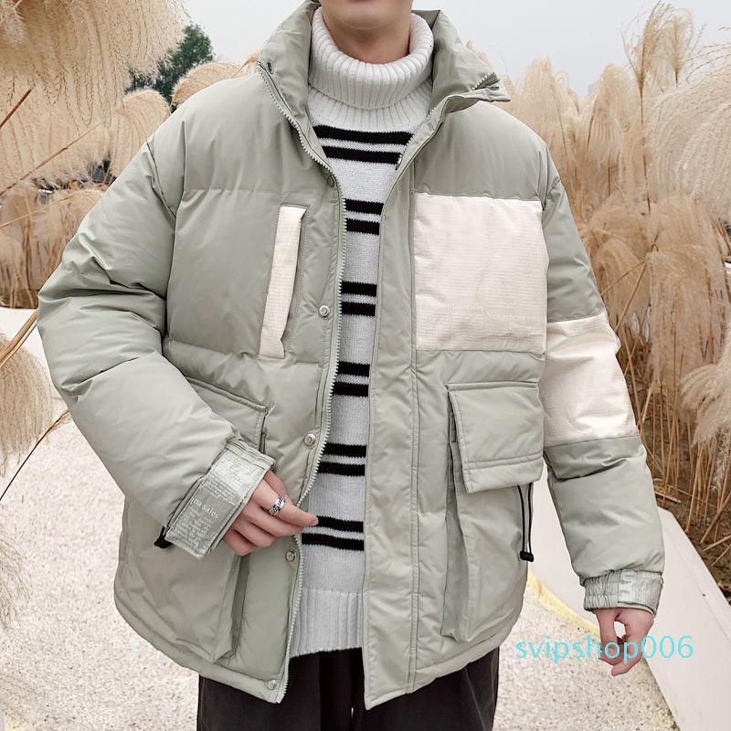 Veste d'hiver Parka Homme Fashion Chaud Stand Collier Court Court Manteau Hommes Loose Coton Veste rembourrée Mens Vêtements M-5XL