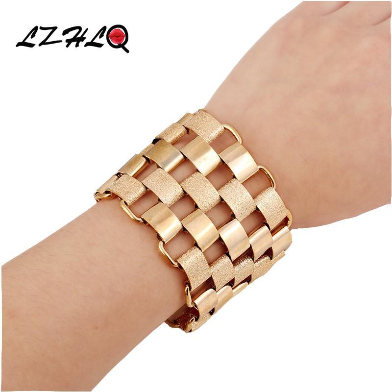 LZHLQ Fashion Punk Wide Cuff Bracelet Jewelry Retro Trendy Women Geometric Splice Chain Bracelets Plated Heavy Metal Accessories
