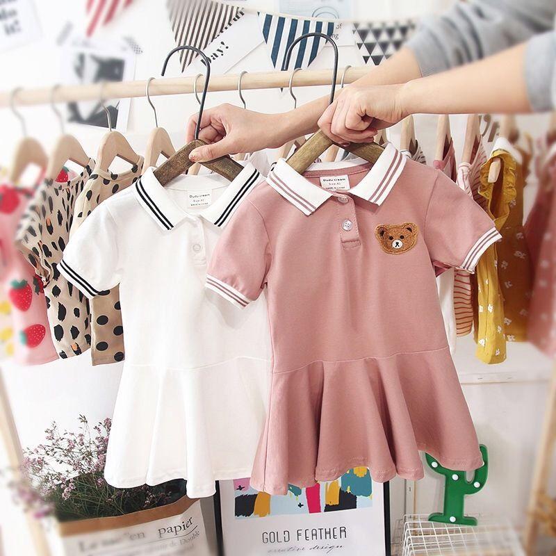 2020 летние девочки мода платье малыша хлопок с короткими рукавами платье милый поло рубашка рубашка для младенческих девочек детская летняя одежда Q0113