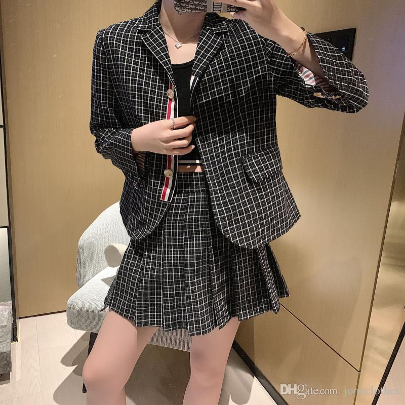 Casaco de terno xadrez tweed blazer mulheres casaco xadrez vintage grosso terno terno jaqueta sprint mulheres blazers e jaquetas