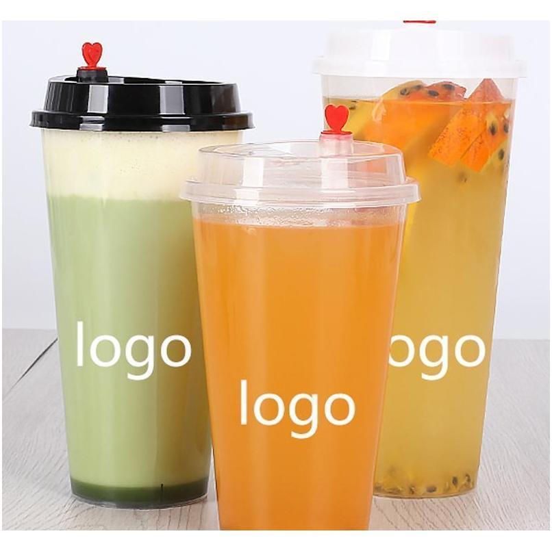 500 мл одноразовые пластиковые стаканчики прозрачный инъекционный теплый сопротивляющийся молочный чай чашка кофейня бар сок молоко пить JLLAFF MX_HOME
