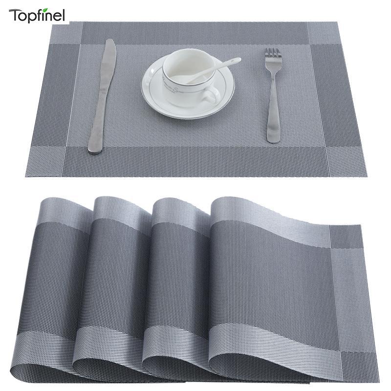 TopFinel PVC Placemats para la copa de comida plástica de plástico en accesorios de cocina Lavable Resistente al calor Vajilla Herramientas de la cocina Mats 201123