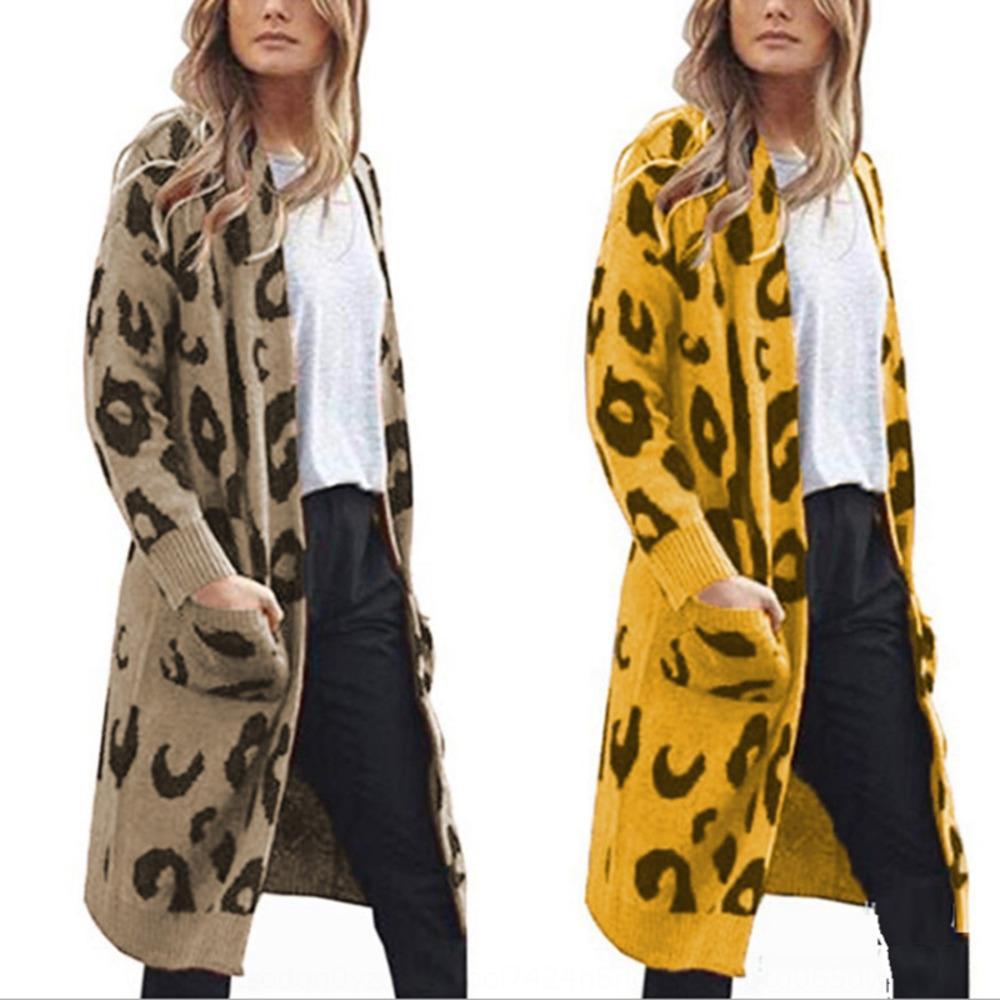 2019 Herbst und Winter lange Tarnung Strickwaren Strickwaren Pullover Gestrickte sweaterleopard Strickjacke für Frauen pl8Ye drucken