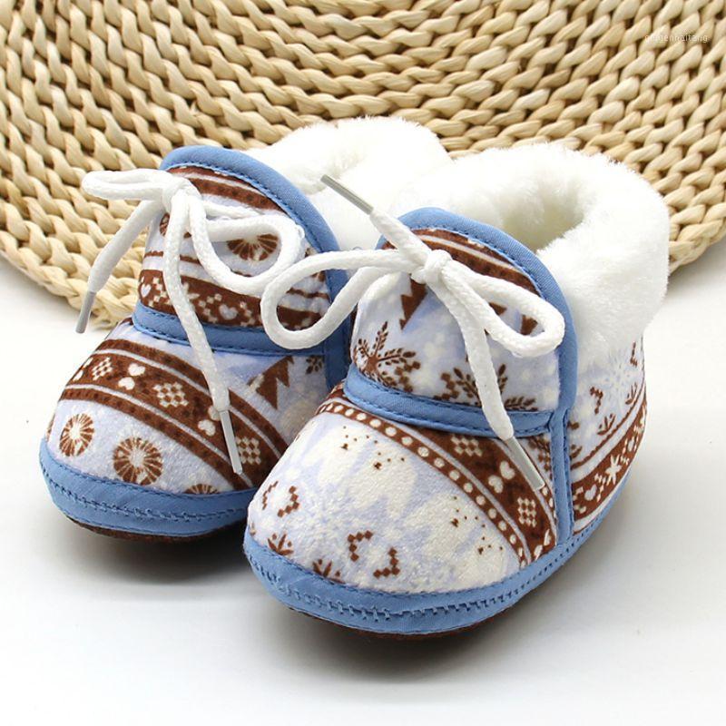 Chaussures de bébé mignonnes Spring chaude chaude baby-bébé rétro imprimer chaussures de coton rembourré bébé garçons filles bottes molles 6-12m1