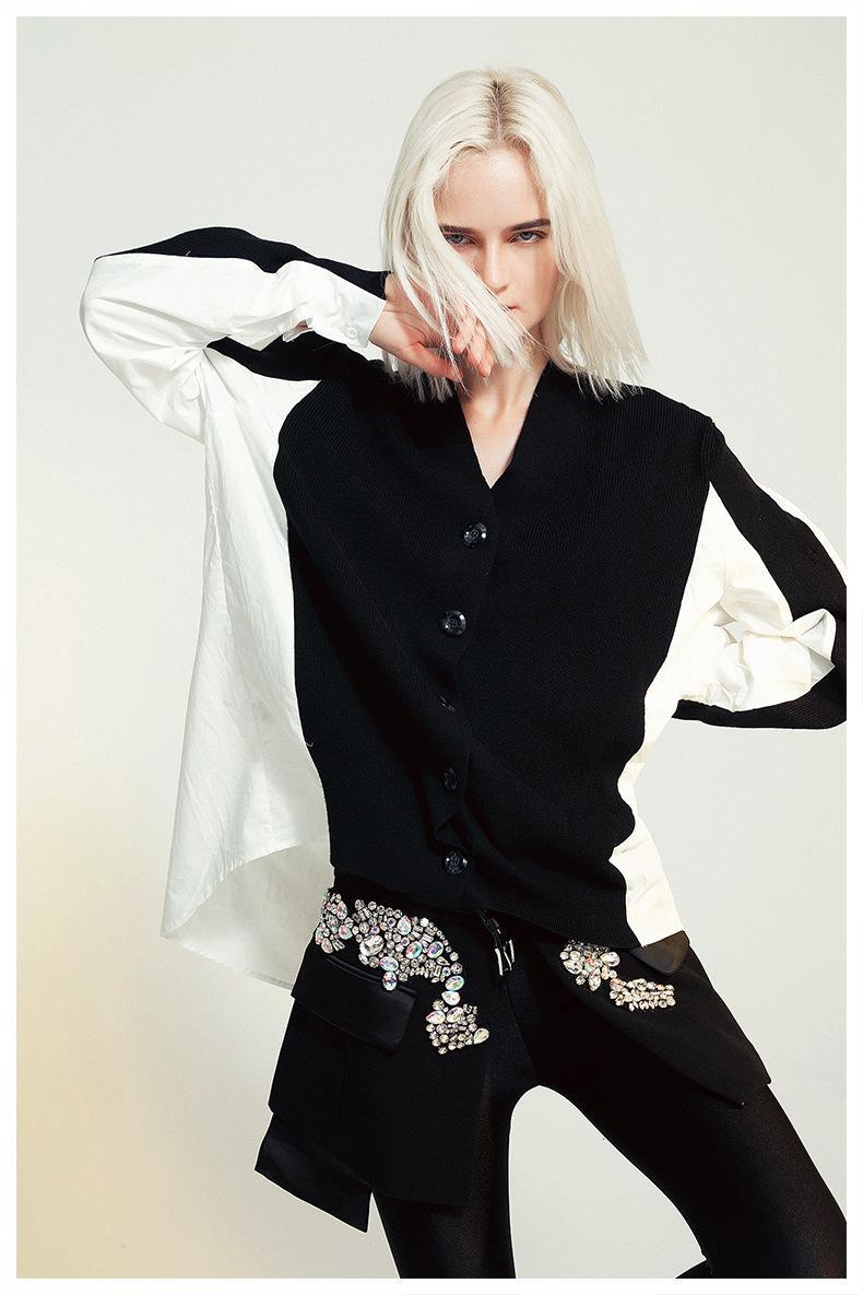 MSXU donne elegante maglieria Patchwork casuale allentata camicia camicetta Y1112