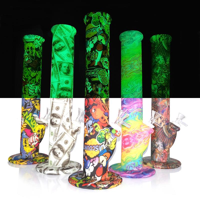 stock in USA silicone bong kits unbreakable silicone hookah glow in the dark Straight Water Pipes with glass bowl 14inch