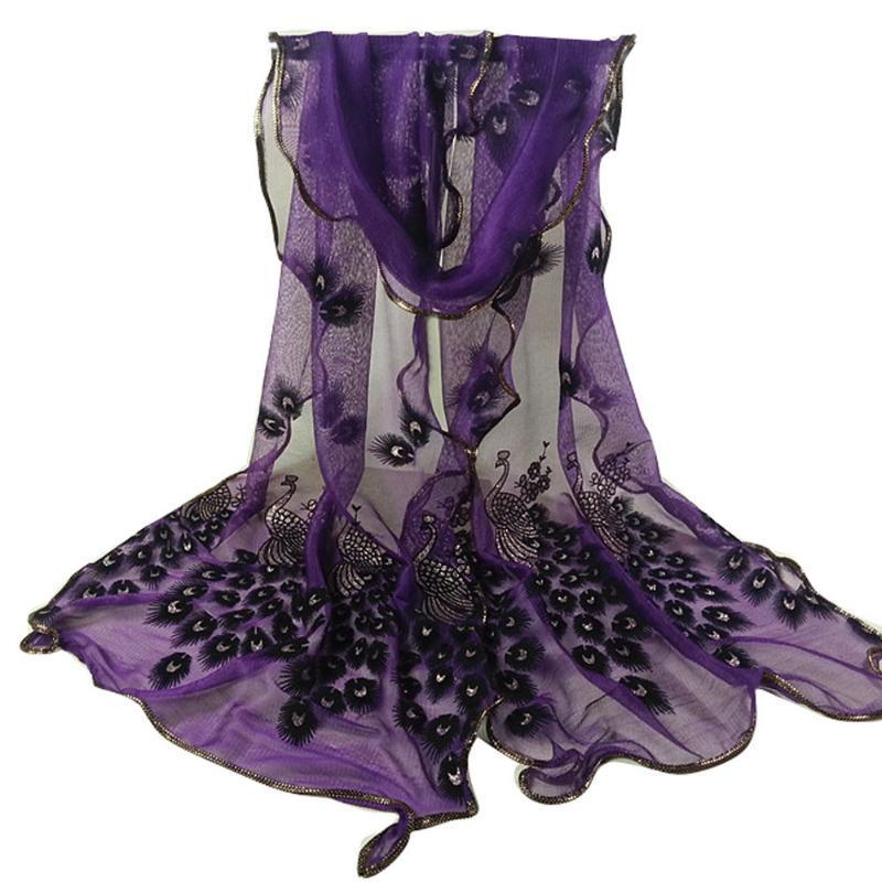 Bufandas Sagace Scarfs para mujer Moda Mujer Peacock Flor Berboidered Lace Bufanda Long suave Silky Wrap Wrap Shahemian Silk