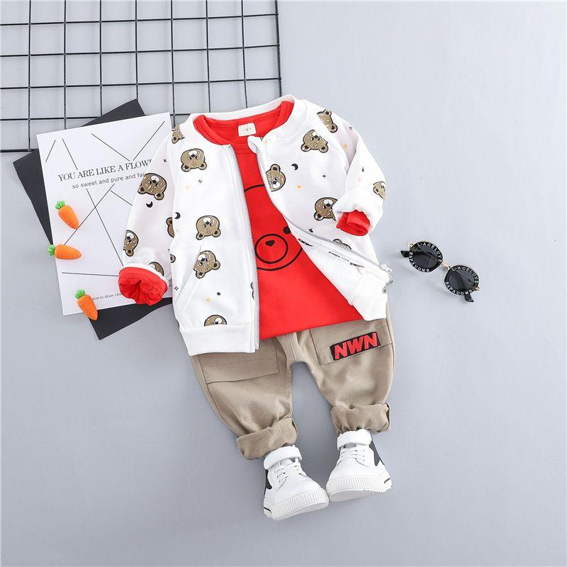 Hylkidhuose Toddler Bebek Giysileri Takım Elbise Bebek Erkek Kız Giyim Setleri Mont T Gömlek Pantolon Çocuk Çocuklar Rahat Coat LJ200831