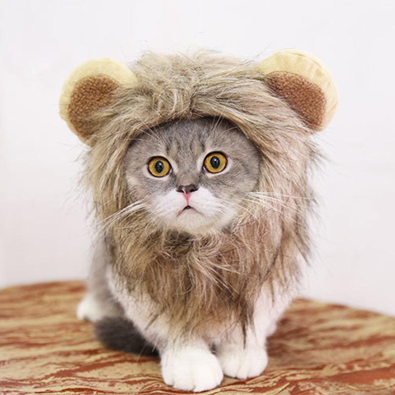 Löwe Mähne Kostüm Hut für Katze süße Katze Kostüm Lion Haar Halloween Weihnachten Ostern Partei Cosplay Parteien Zubehör werden und sandige neue