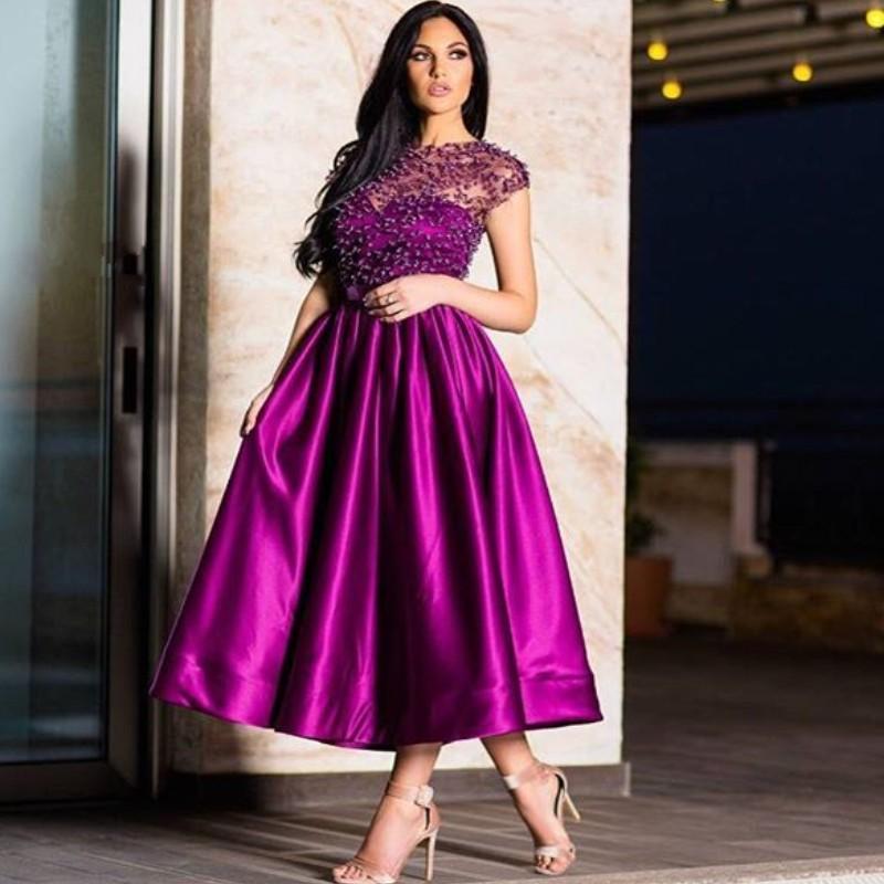 Perlas de lujo de Dubai vestidos de baile simple cuello de la joya de la manga casquillo altura del tobillo del partido del vestido atractivo de una línea de cóctel vestido de noche de las mujeres Vestidos