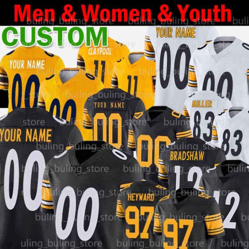 Personalizzato 23 Joe Haden 83 Heath Miller Jerseys 97 Cameron Heyward Terry Bradshaw Jack Lambert Ryan Shazier Woodson Mens Youth Women Football
