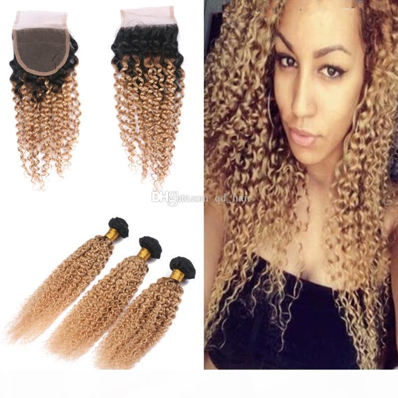 Ombre Farbe verworrene Gelockt Weaves mit Spitze Closure Honey Blonde 1B 27 Dunkle Wurzeln Hair 3 Bundles mit Closure 4x4