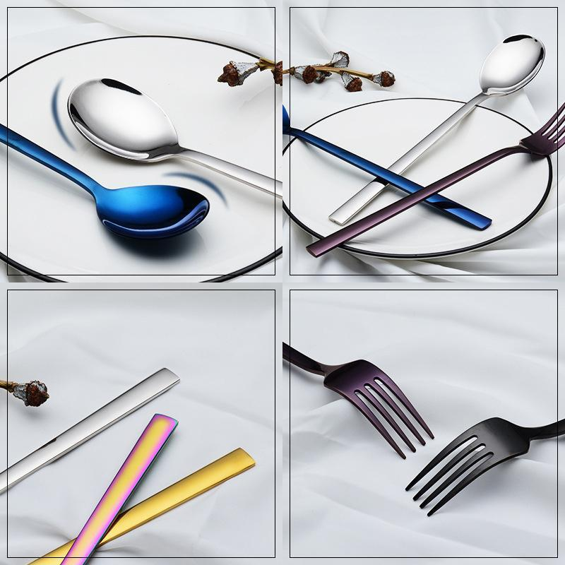 Stainless Steel Flatware Colorful Square Handle Spoon Fork Cake Ice Cream High Quality Fork Spoon Luxury Tableware Household