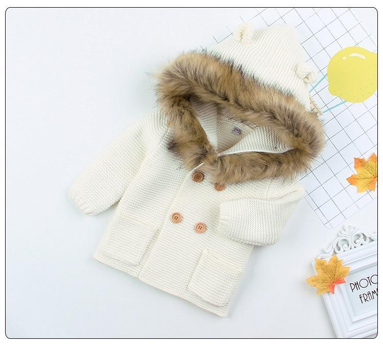 2020 Nova Moda Baby Sweater Casaco de pele bonito colarinho animal com capuz de confecção de tricô bebê casaco outono inverno roupas quentes para bebê