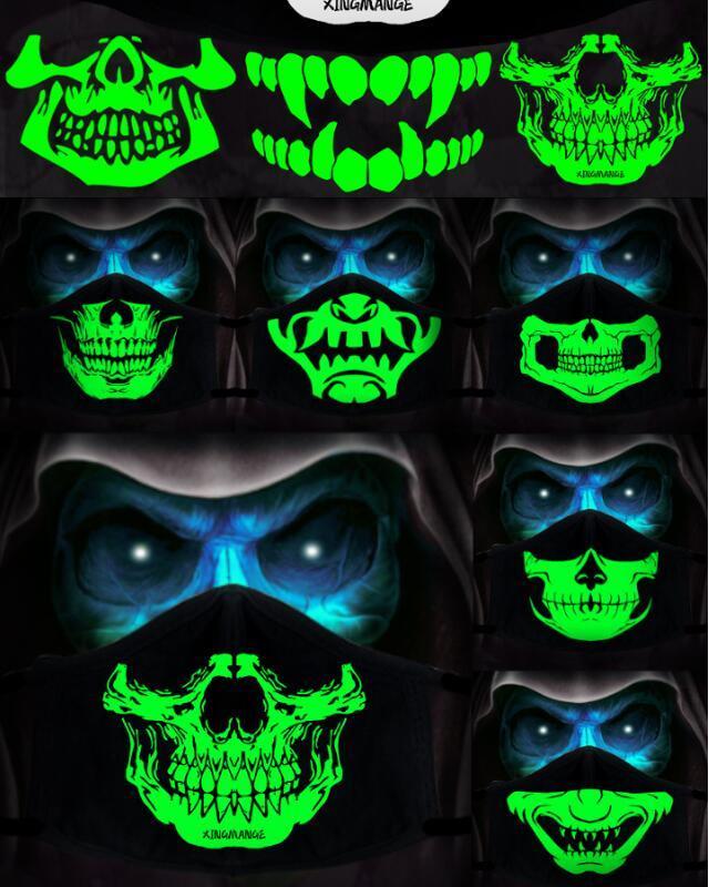 1 ADET Pamuk Toz Geçirmez PM2.5 Anime Karikatür Siyah Maske Ağız Kadın Erkek Gece Glow Karanlık Kafatası Ağız Maskeleri Yarım Sokak Yüz Maskesi