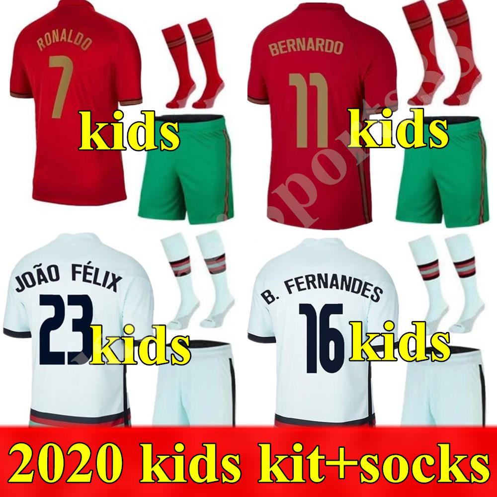 2020 National Team Kit Kit Kit de fútbol Jerseys Ronaldo Joao Félix Home Away Away Football Shirt 20 21 Portugués Child Sets Camisa de Futebol