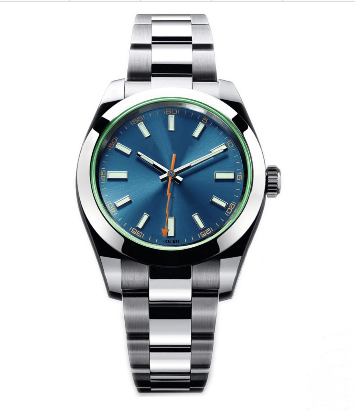 Design de maître, montre pour hommes, mouvement automatique mécanique, verre vert, boîtier en acier inoxydable, fermoir pliant, gros et commerce de détail