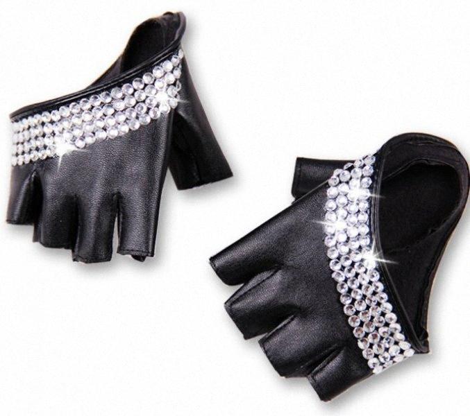 Wholesale- Damenmode Hälfte Palm halb- Finger PU-Leder Strass Handschuhe Herren-fingerless Hip-Hop-Persönlichkeit DIY Handschuhe xYER #