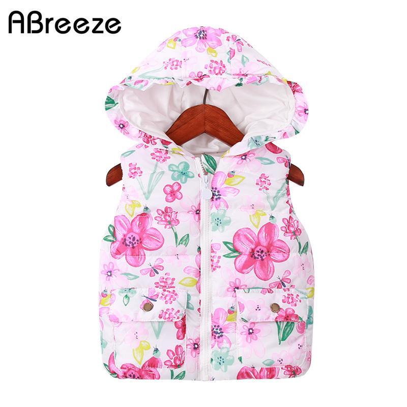 Новая классическая осень зима детей жилет случайные цветочные принты детские девушки жилет 1-7Y детей с капюшоном жилет для девочек Y200831