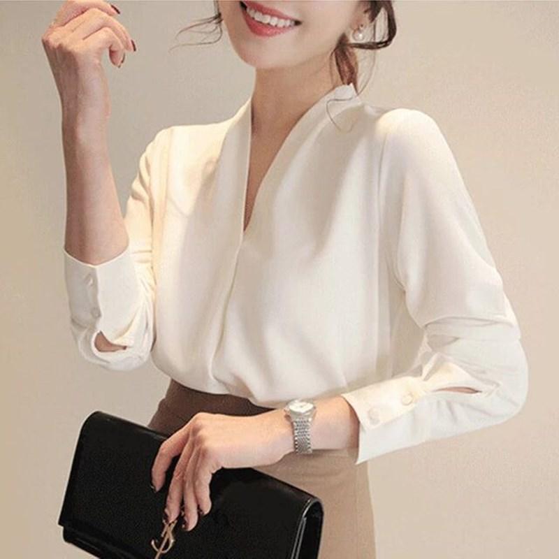 2020 Женщины рубашки с длинным рукавом Твердая белая шифоновая блузка Офис одежда женщин Женщины Топы и блузки