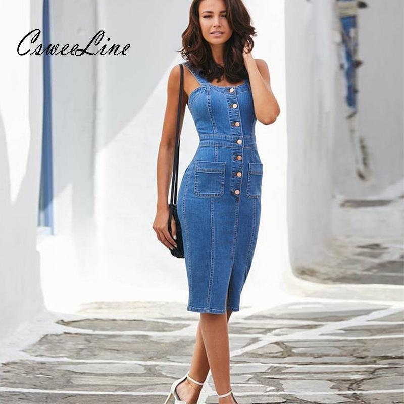 Sexy Casual Denim Robe Midi Summer Tenues pour femmes Sundress Sangle sans manches Bouton Bouton de poche Robe Robe Modycon Robes J1215