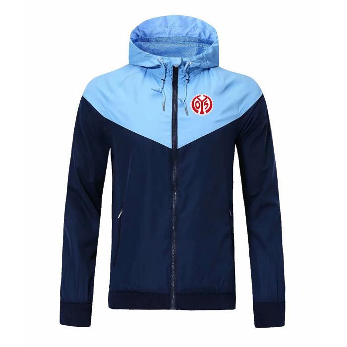 FSV Mainz 05 rüzgarlık fermuar ceket Kapşonlu futbol WINDBREAKER Futbol ceket Spor ceket Erkekler Jack fermuar