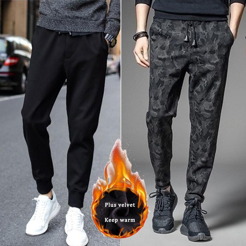 Inverno Homens além de veludo Harem Pants Corredores Homens Sweatpants Streetwear Aqueça Calça Casual Masculino Sports Harajuku Pockets Calças