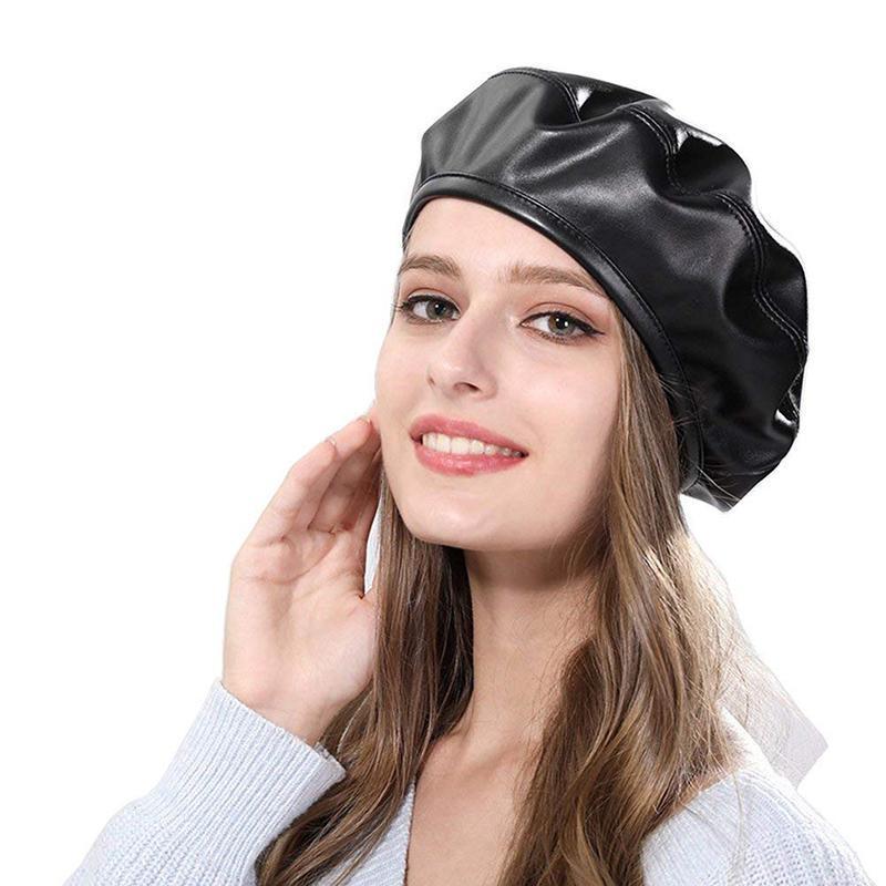 Береты q Мода повседневная 1 шт. Женщины Берета шляпа PU кожи ретро осень зима аксессуары леди девушка шляпы крышка элегантный винтаж
