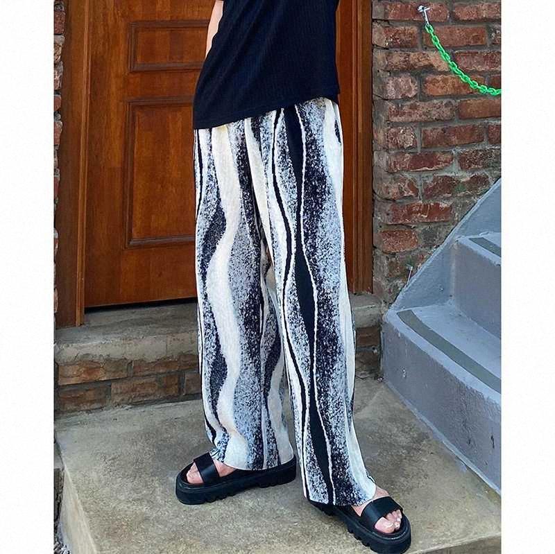 Masculino Mulheres Coreia do Japão Estilo Streetwear Hip Hop solto Pant Homens Imprimir Dobras Casual retas calças de pernas largas wd5F #