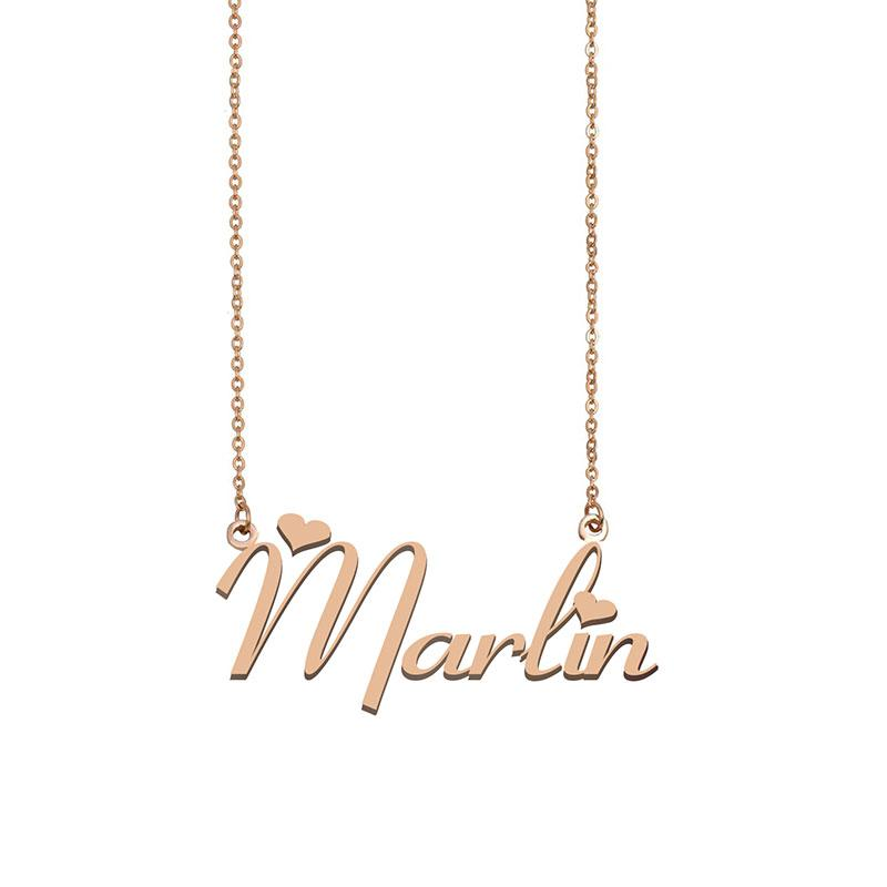 Marlin Name Halskette Anhänger Benutzerdefinierte Personifiziert Für Frauen Mädchen Kinder Beste Freunde Mütter Geschenke 18 Karat vergoldetem Edelstahl