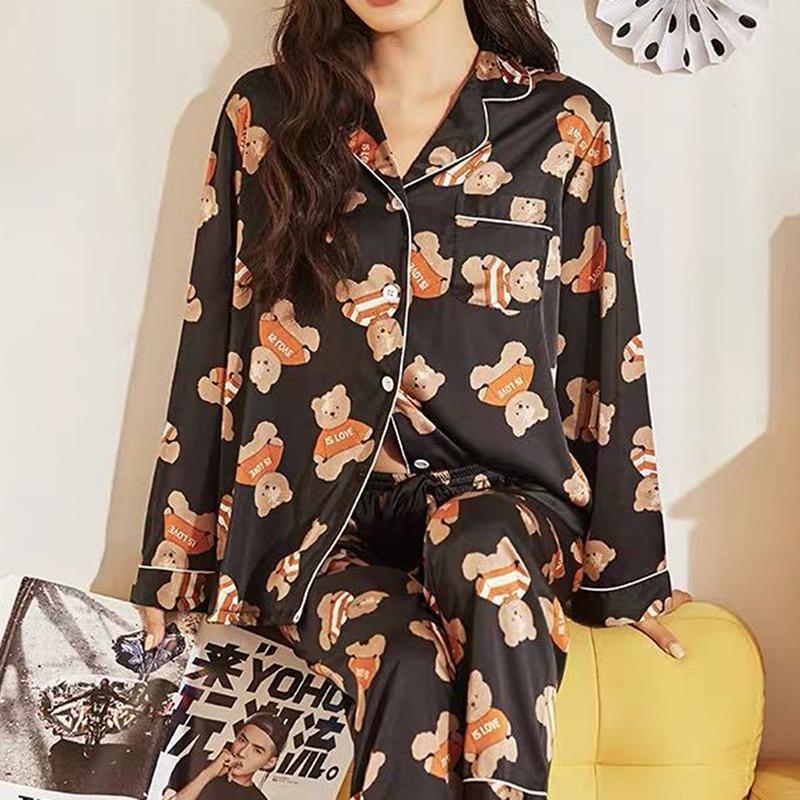 Womens Pajamas наборы мультфильм печати Новая осень с длинным рукавом две части набор женщин спящая одежда сексуальная ночная кость для женщин спать набор Prueb