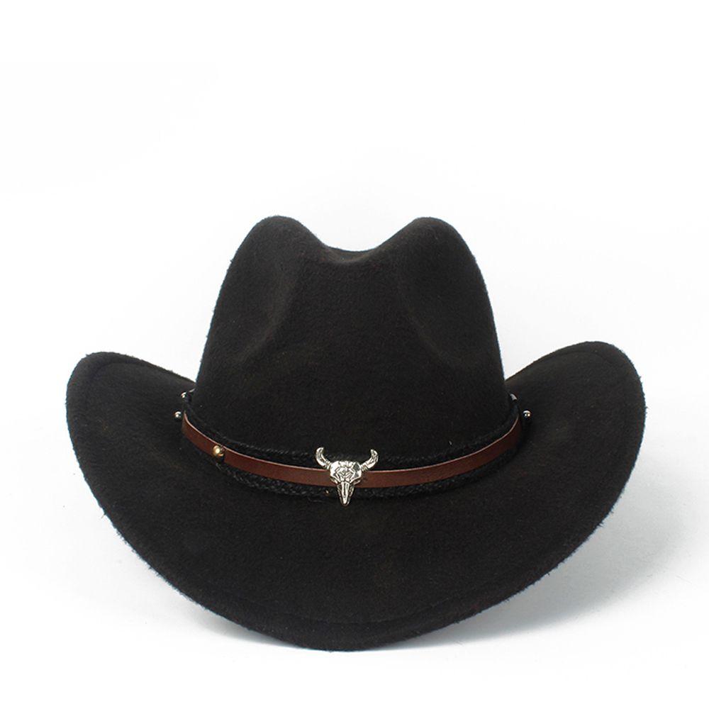 Niño niños lana hueco occidental vaquero sombrero roll-up Brim Boy Girl Outblack Sombrero Hombre Jazz Cap C0123