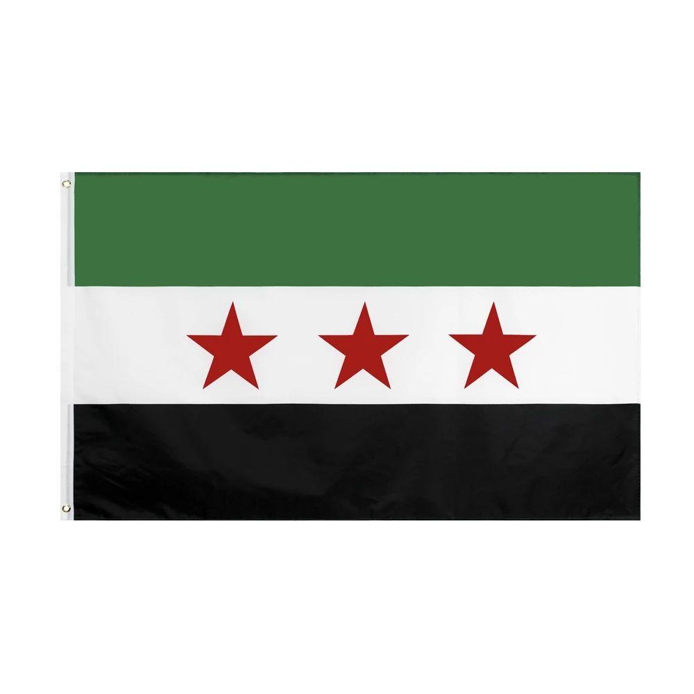Nel trasporto libero di riserva 3x5ft 90x150cm Hanging Repubblica araba siriana Tre Stella Rossa Siria Nazione bandiera e Banner per decorazione di celebrazione