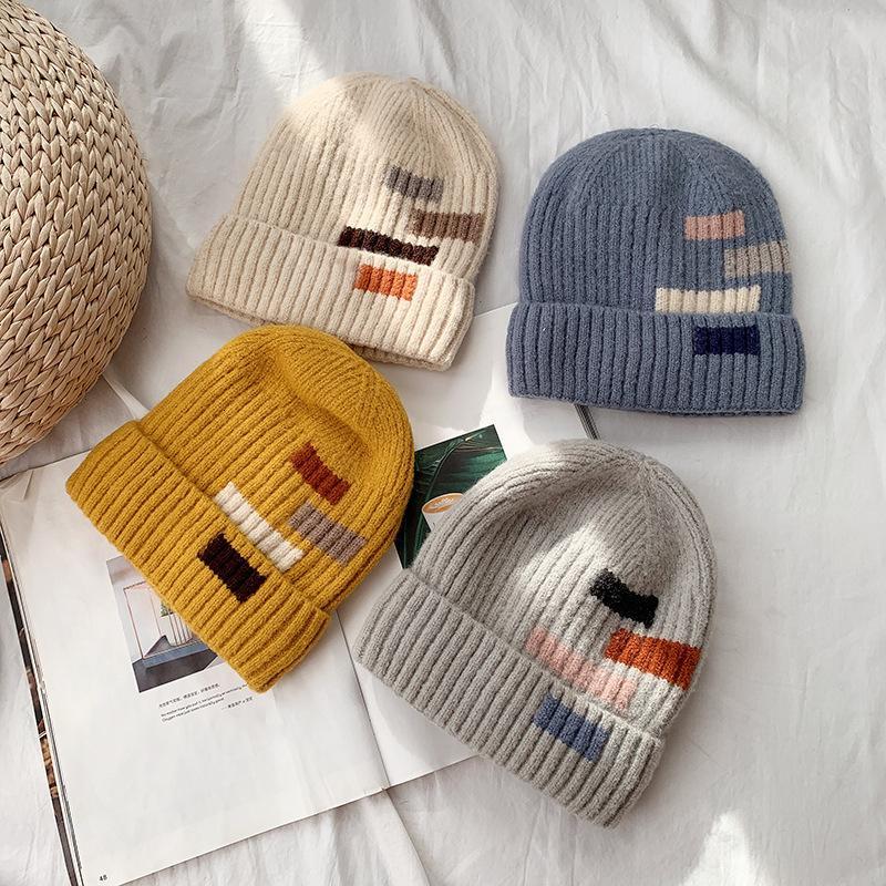 Outono e inverno quente versátil estudante casual monocromático quadrado lã chapéu
