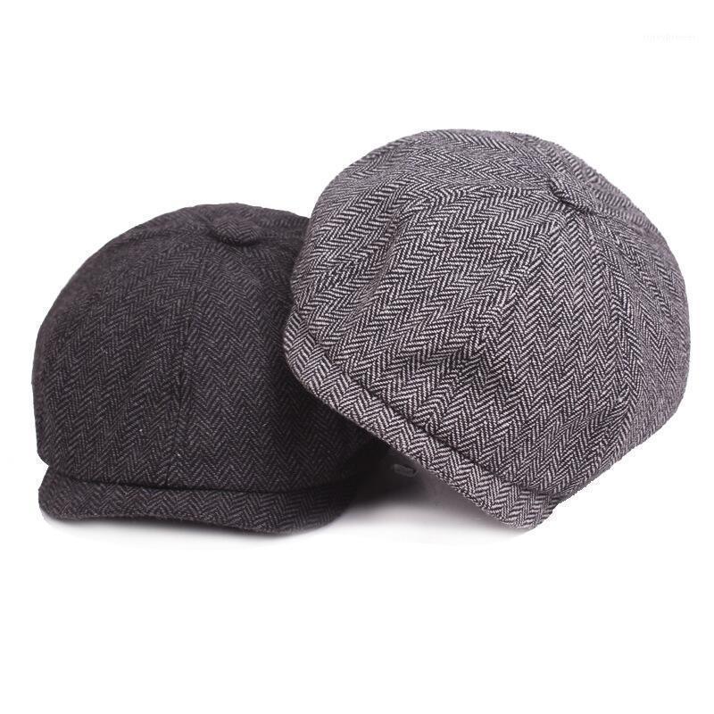 BEHERN 2021 Mode Gentleman achteckige Mütze SBY BEY BERET HAT Herbst und Winter für Männer männliche Models flache Caps1