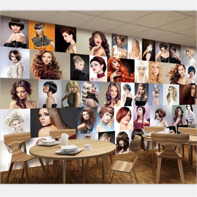 Mural wallpaper custom European and American popular hair style design barber shop hairdressing tool decoration mural1