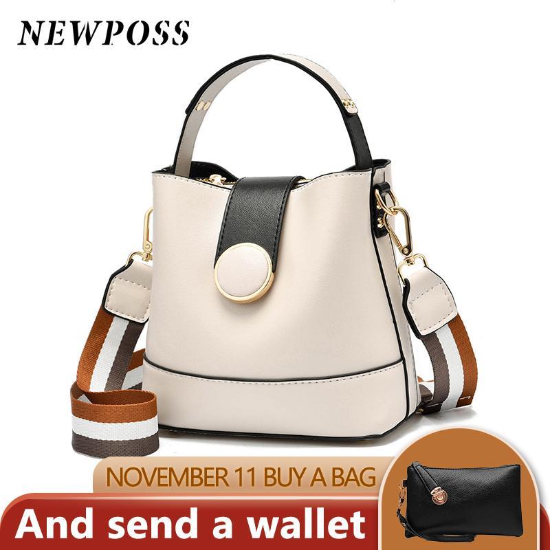 2020 nuevo de las mujeres del bolso con correa colorido cubo bolso de las mujeres de la PU de diseño cuero Bolsa de hombro Marca señoras de Crossbody de bolsas de mensajero