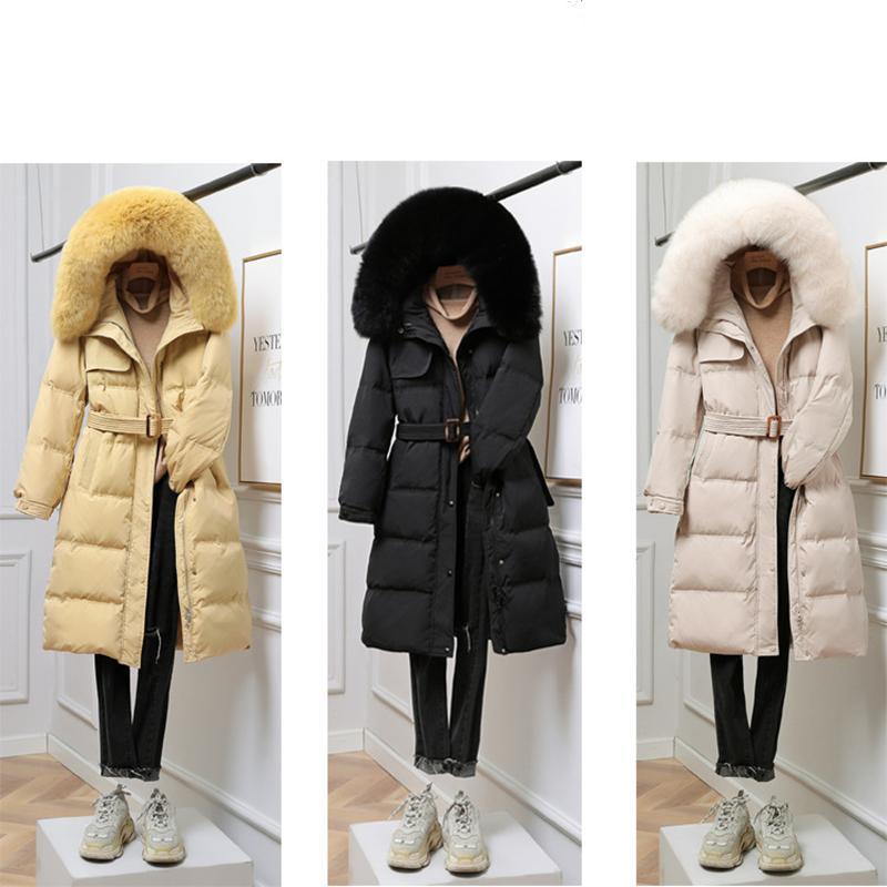 Winter verdickte Warm Big Wool Collar Hood Medium Zipper Langarm Gürtel Weiße Ente Damen Daunenjacke lose Mantel