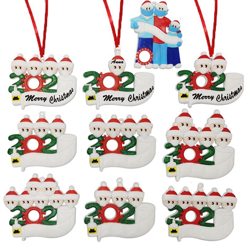 2020 Noel Karantina Süsler DIY Aile Yüz Maskeleri el temizlenmiş Noel ağacı Parti Dekorasyon kolye Kişiselleştirilmiş tebrik