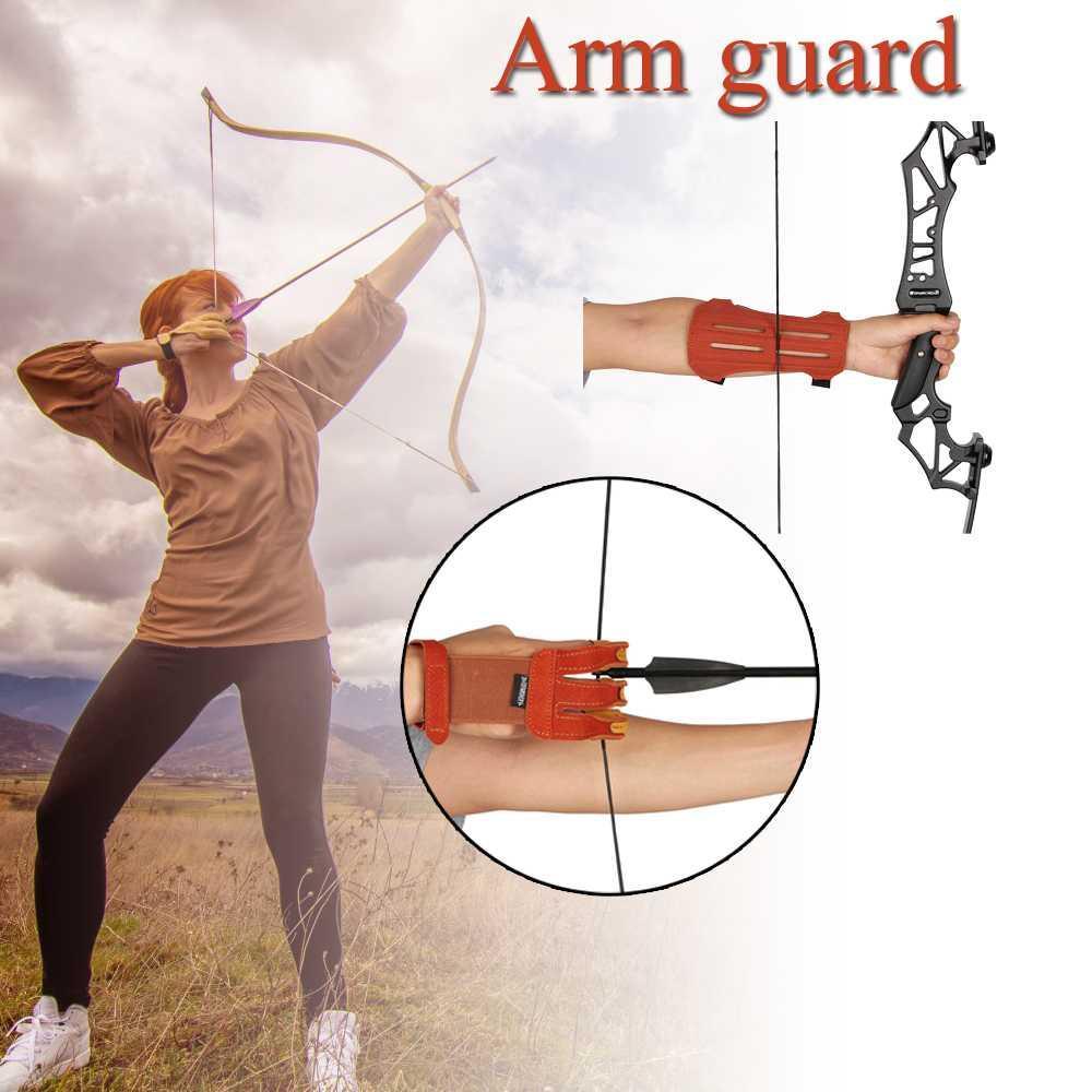 Huntingdoor Nuovo braccio di protezione Tre guanti di protezione Finger Tiro con l'arco Accessori Pratica strumento di protezione per Bow