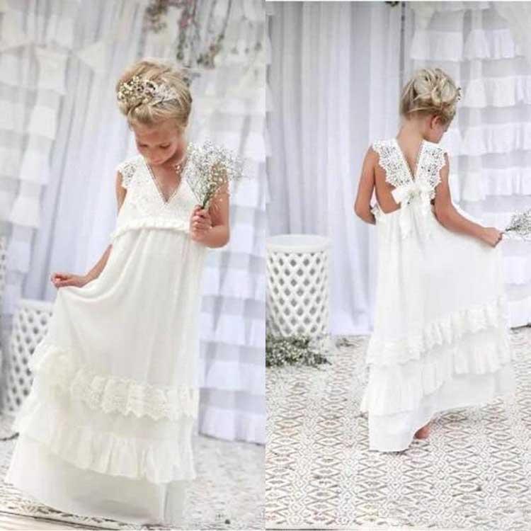 Bohemian Yaz Plaj Çiçek Kız Elbise V Boyun Vintage Dantel Katlı Dantel Sevimli Prenses Kızlar Düğün Özel