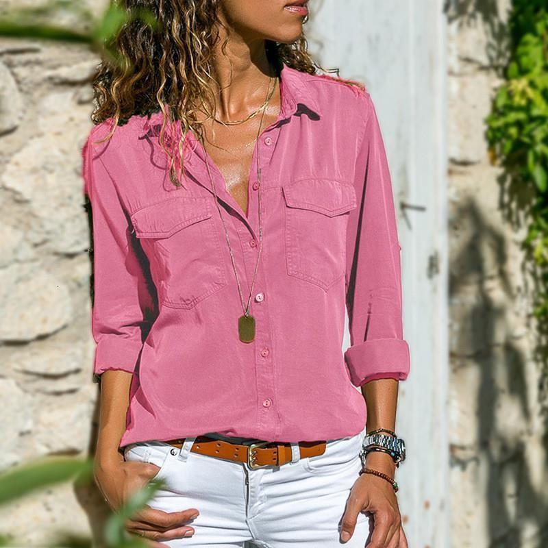 2021 New Denim Camisa Mulheres Jean Primavera Moda Chemise Feminino Bolsos Manga Longa Slim Fit Senhoras Blusas Womens Roupas