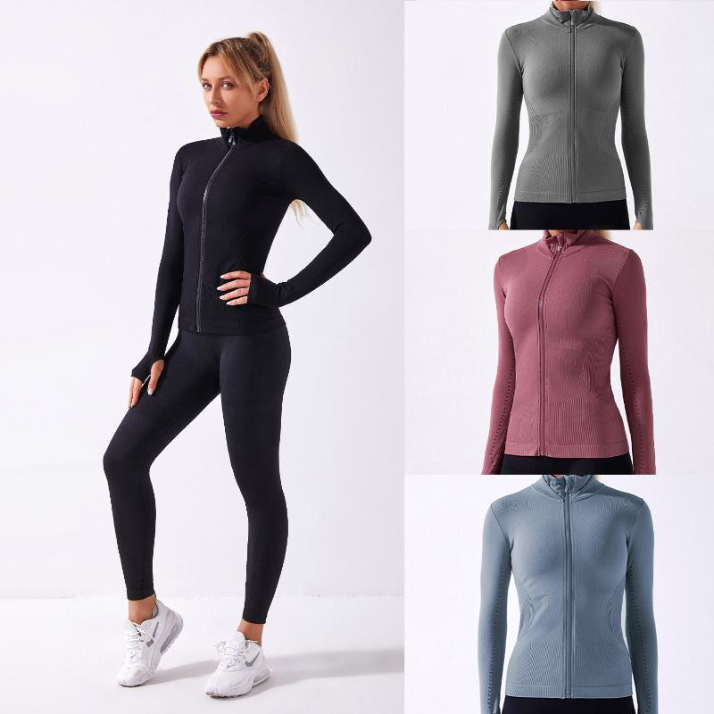 knitted fitness suit long sleeve top seamless Yoga coat sports wear for tracksuit women gym autumn winter sportswear