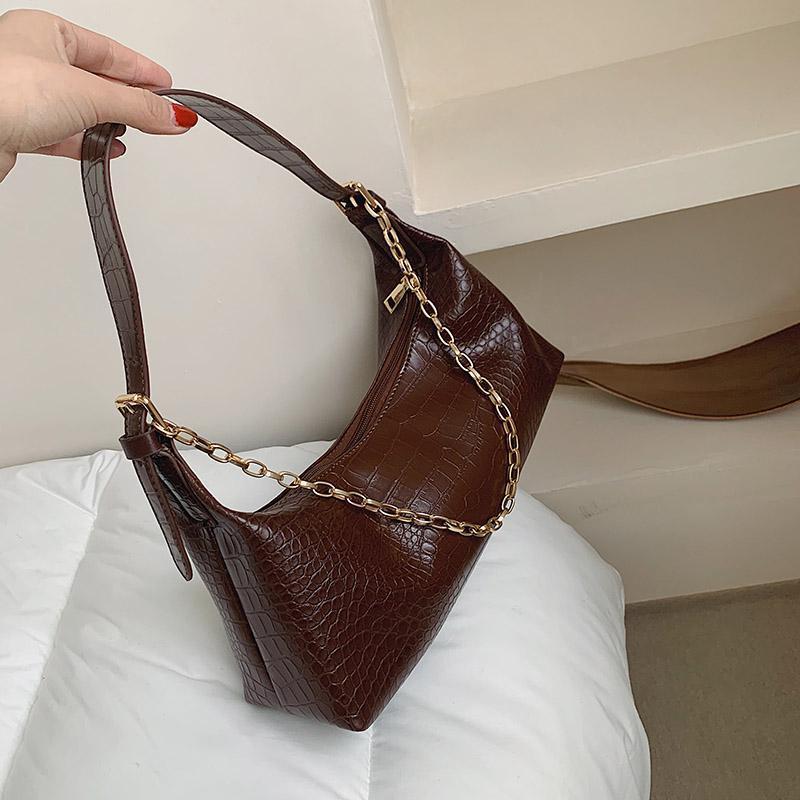 حقائب الكتف كيس فام أزياء للنساء سلاسل جميلة حجر نمط حقيبة جلدية مدينة الإناث اليد 2021