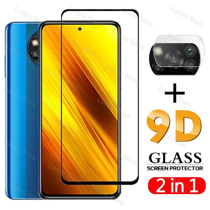 2EN1 en verre trempé pour Xiaomi Poco X3 NFC X2 Caméra Film Lens Cover 9D Protecteur d'écran pour Xiaomi poco x3 de protection en verre