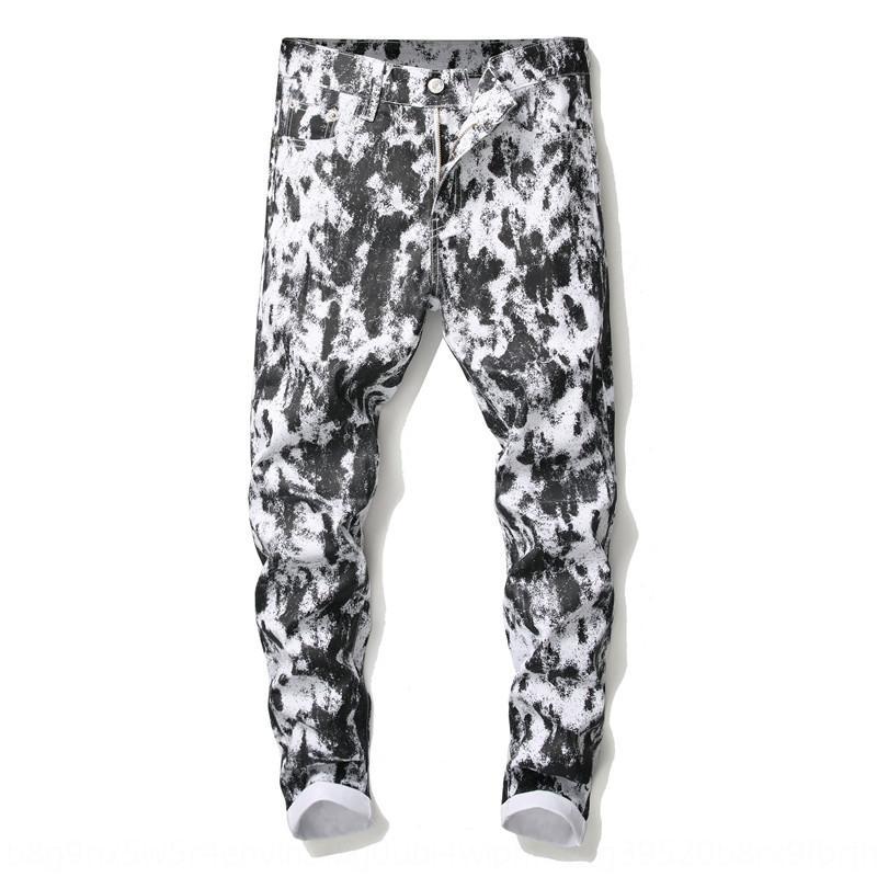 Capelli fiore stylist autunno sottile di tendenza discoteca piccoli uomini delle gambe moda pantaloni Leggings da uomo White Spot pantaloni stampato 7c0Pi 7c