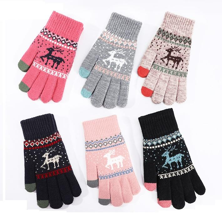 2021 New Gloves Winter Ladies Warm Touch Screen Wool Plus Plush Plus Thick Outdoor Lovely Plush Knitted Gloves